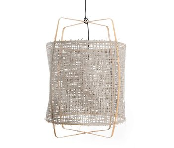 Ay Illuminate Hanging lamp Z2 blond bamboo gray cardboard ø67x100cm