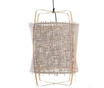 Ay Illuminate Hanglamp Z22 blond bamboe grijs karton ø48,5x72,5cm