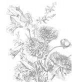 KEK Amsterdam Bakgrundspanel Graverade blommor
