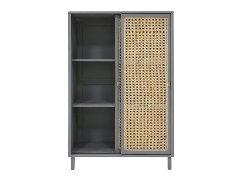 HK-Living Retro webbing cabinet with sliding doors gray