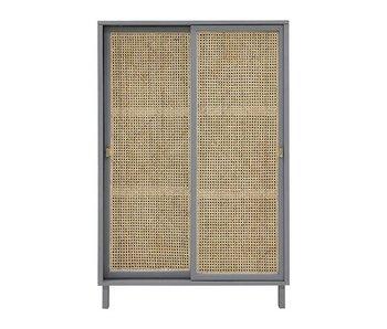 HK-Living Mueble retro de cincha con puertas correderas gris.