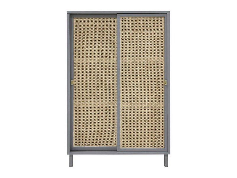 HK-Living Retro webbing cabinet sliding doors grey - LIVING AND CO.