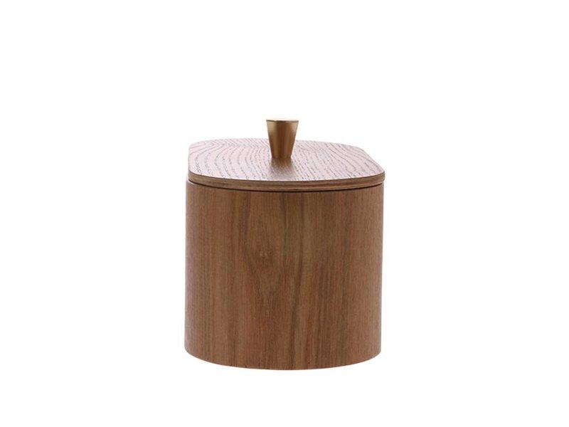 HK-Living Træopbevaringskasse med messingknap