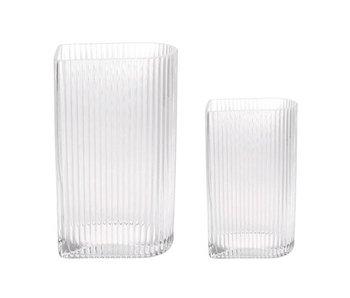 HK-Living Ensemble de vases côtelés en verre