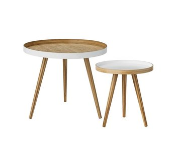 Bloomingville Coffee table set of 2 white bamboo