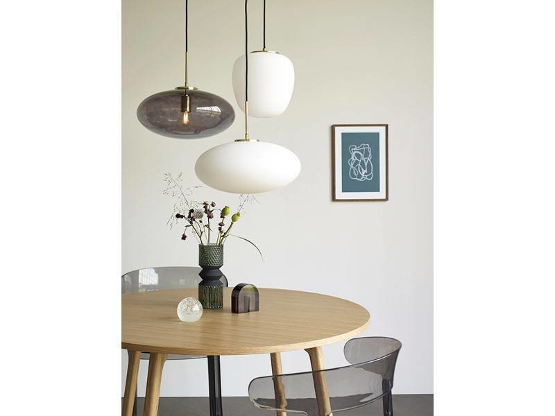 Hubsch Hanglamp wit glas messing
