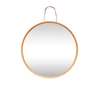 Hubsch Wall mirror with hanging loop of leather