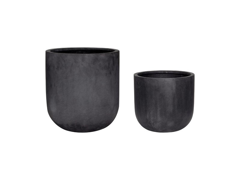 Hubsch Bloempot set zwart fiberstone
