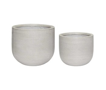 Hubsch Flower pot set natural fiberstone