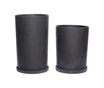 Hubsch Flowerpot set with dish black polystone