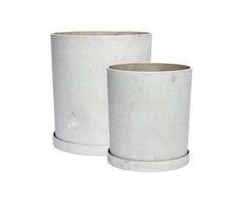 Hubsch Macetero con plato polystone gris