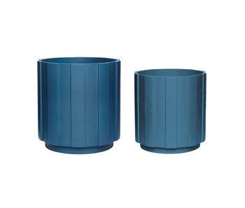 Hubsch Ensemble de pots de fleurs bleu pétrole
