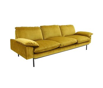 HK-Living Retro Sofa 4-Sitzer Samt Ocker