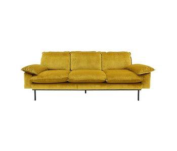 HK-Living Retro Sofa 3-Sitzer Samt Ocker