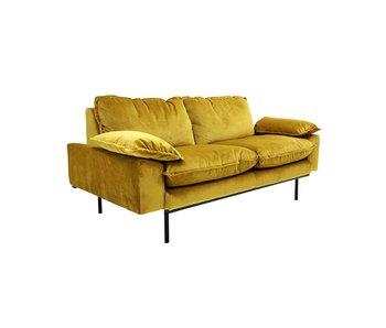 HK-Living Retro Sofa 2-Sitzer Samt Ocker