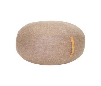 Hubsch Pouf en laine marron avec poignée en cuir