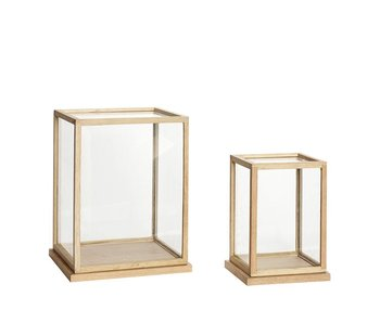 Hubsch Glass display oak - set of 2