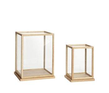 Hubsch Glazen display eikenhout - set van 2