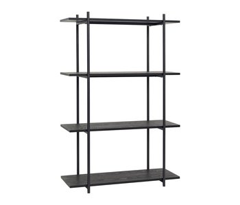 Hubsch Black metal storage cabinet with 4 shelves