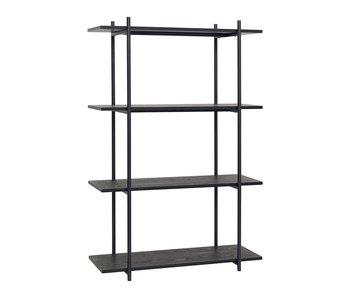 Hubsch Gabinete de almacenamiento de metal negro con 4 estantes