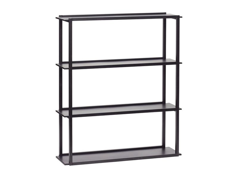 Hubsch Wall unit black metal with 4 shelves