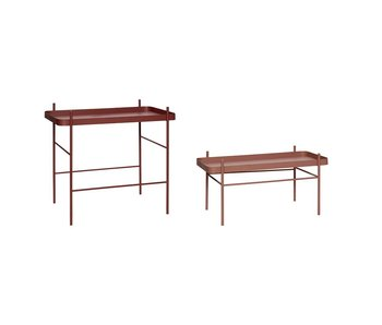 Hubsch Coffee table red metal - set of 2