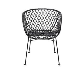 Bloomingville Lounge Sessel aus schwarzem Rattan