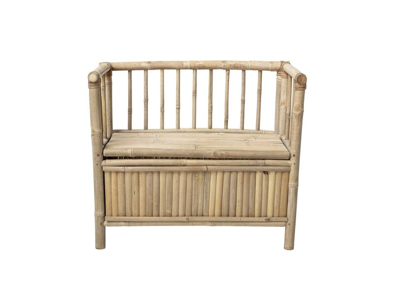 Bamboo Bench With Storage Bin