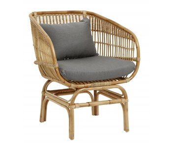 Nordal Rattan armchair with gray cushion
