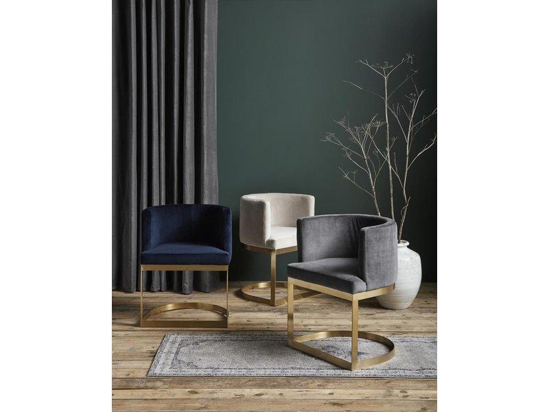 Nordal Chaise de salle à manger en velours bleu