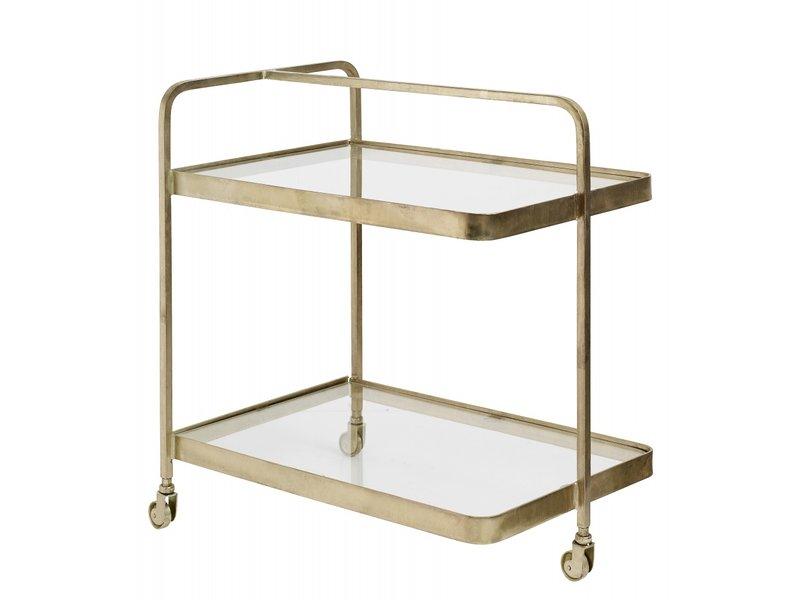 Nordal Trolley goud met glas