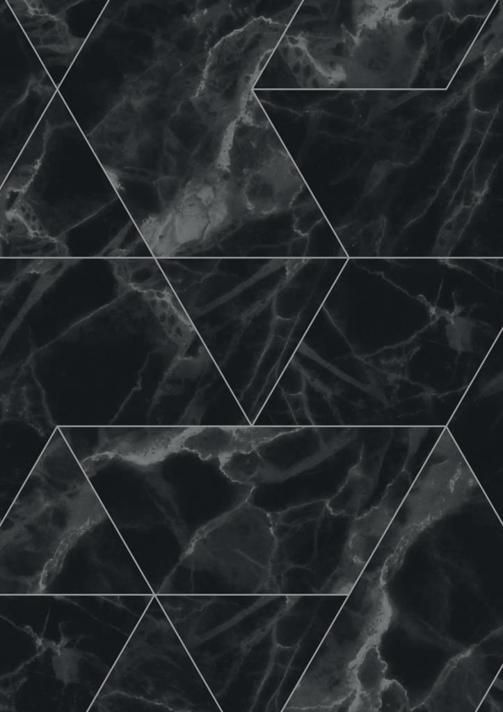 Marble Mosaic Wallpaper Black Gray