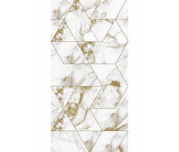 KEK Amsterdam Papel pintado mosaico mármol dorado.