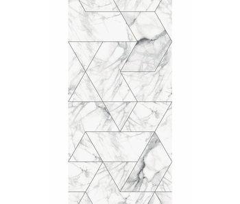 KEK Amsterdam Papel pintado mosaico mármol blanco