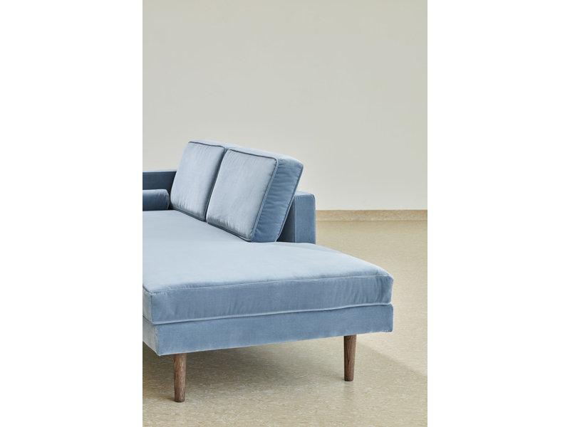 Broste Copenhagen Chaise Longue bank velours pastel blauw