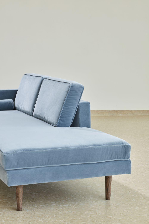 Canapé Chaise Longue velours bleu pastel