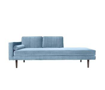 Broste Copenhagen Chaise Longue sofá terciopelo pastel azul
