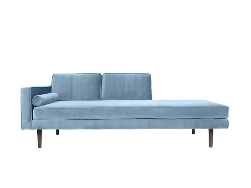 Chaise Longue sofa velvet pastel blue