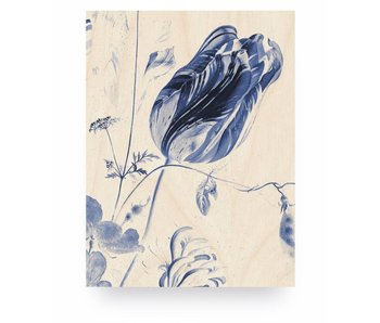 KEK Amsterdam Print op hout Royal Blue Flowers