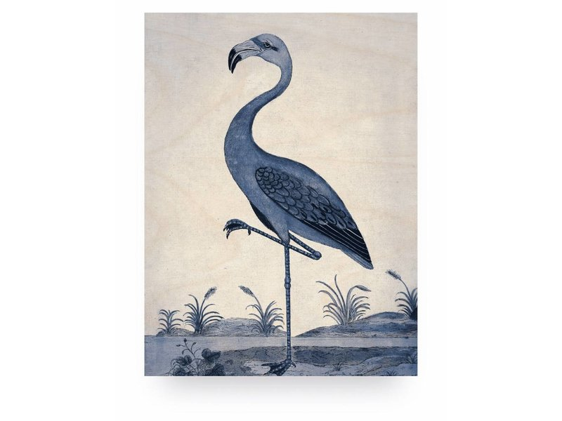 KEK Amsterdam Print on wood Blue Flamingo