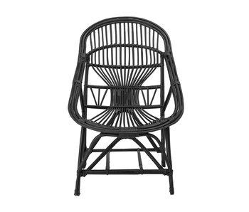Bloomingville Joline Loungestoel riet - zwart