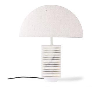 HK-Living Pied de lampe côtelé en marbre blanc