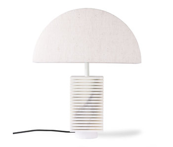 HK-Living Ribbed marble table lamp incl. Jute lampshade