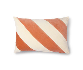 HK-Living Striped velvet cushion peach / cream 40x60cm