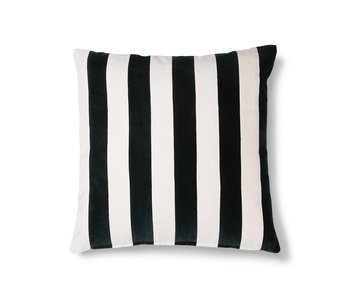 HK-Living Striped velvet cushion black / white 50x50cm