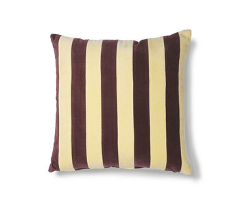 HK-Living Striped velvet cushion yellow / purple 50x50cm