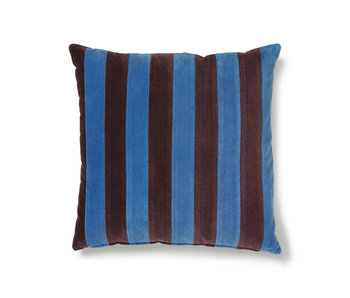 HK-Living Striped velvet cushion blue / purple 50x50cm