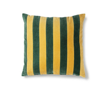 HK-Living Striped velvet cushion green / mustard 50x50cm