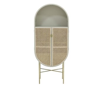 HK-Living Retro oval cupboard light gray with brass base