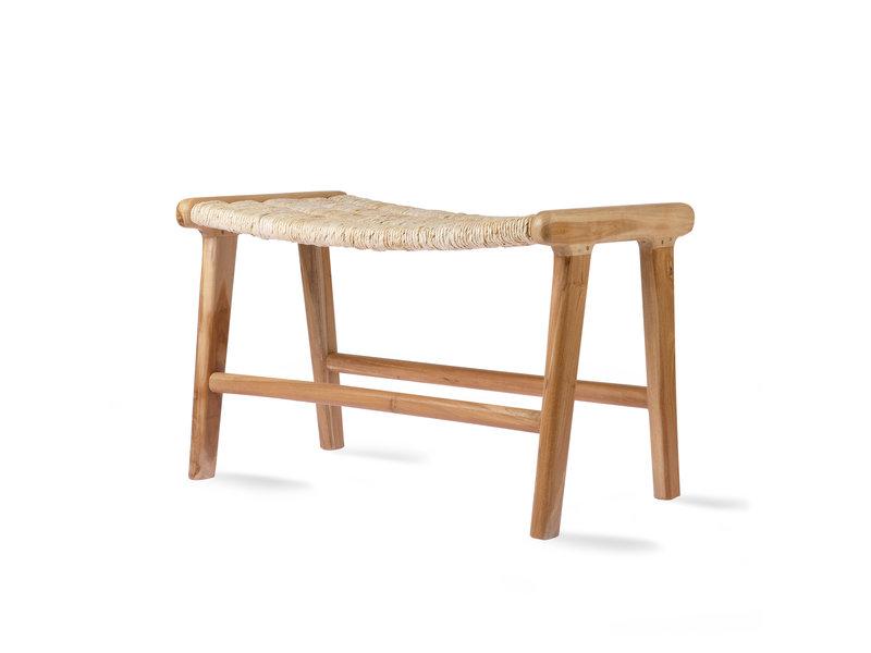 HK-Living Abaca/teak hout lounge poef